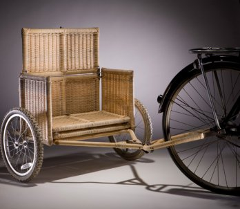 Samarth Bicycle Trailer, prototype. Radhika Bhalla (Indian, b. 1983). Designed United States, deployed India, 2008�present. Locally sourced bamboo, rattan, iron, jute, coconut fiber, wheels_Vahe D'Ala