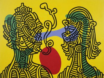 Keith Haring and Julia, 1986
