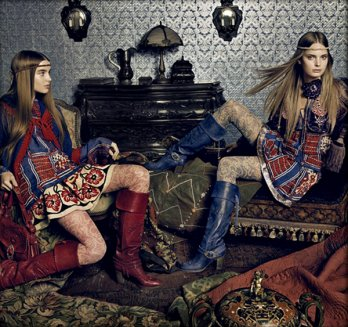 Anna Sui FW 08.09 Ali Michael and Agnete Hegelund by Tom Munro