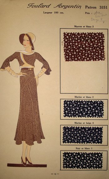Connections/Sample card for silken clothing fabric, France, 1932