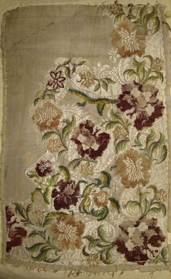 Connections/Fabric fragment (with drawing woven in) for male waistcoat, Silk_1730-1740.