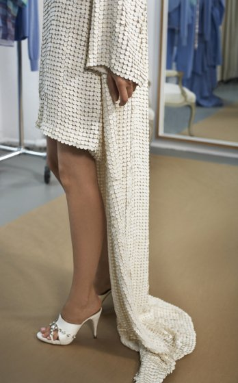 Issac Mizrahi used salmon leather to create a dress, jacket and shoes_Mackenzie Stroh